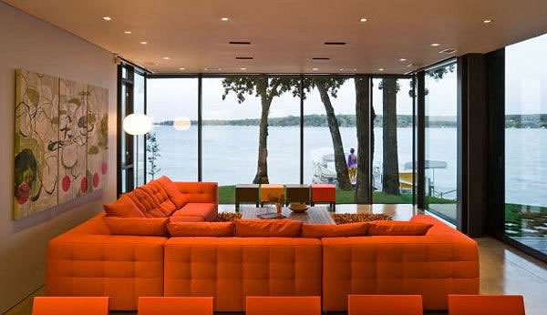 Modern Cottage on West Lake Okoboji Shoreline Living Room 7