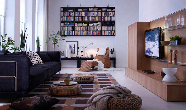 Living Room Design Ideas 2010   IKEA black sofa ethno details