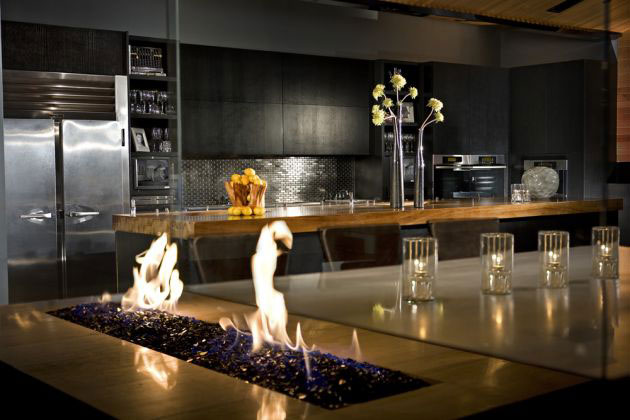 Nightclub Interior fireplace