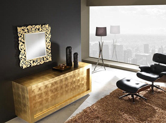 Luxury Sideboards gold cabinet interior