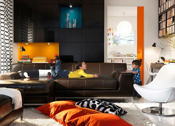 Living Room Design Ideas 2010   IKEA orange accent ikea
