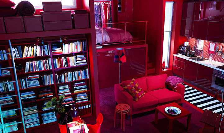 Living Room Design Ideas 2010   IKEA red color interior