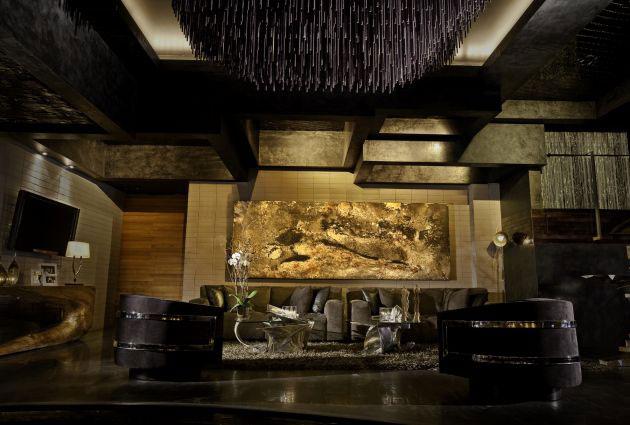 Nightclub Interior velvet sofas