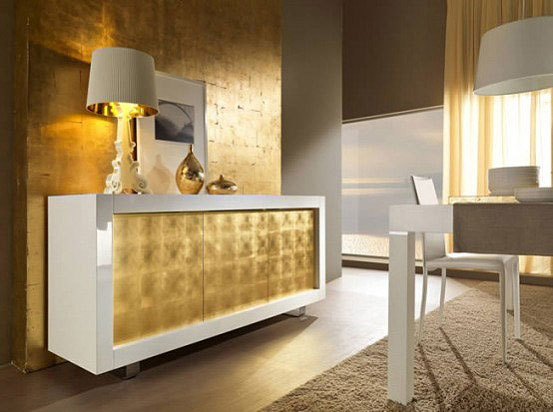 Luxury sideboards interior design int gold - Pintura dorada para paredes ...