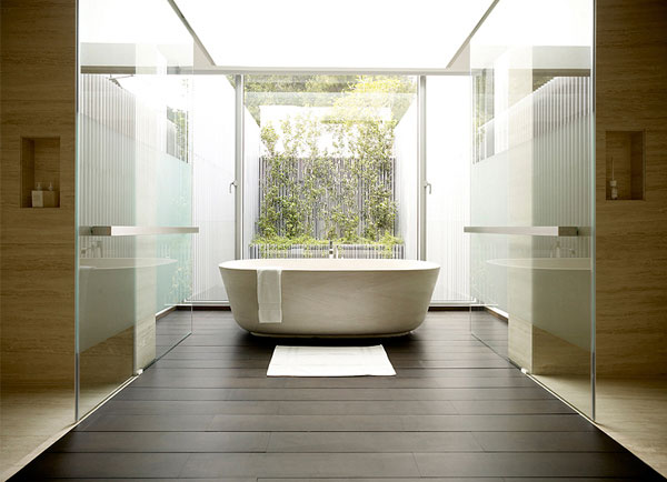 Light Open Plan Living Space bath tub