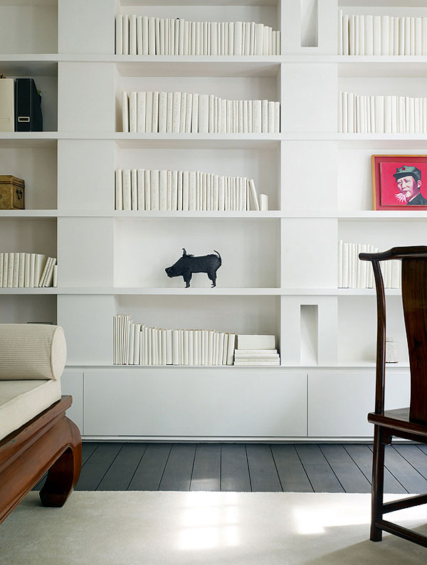 Light Open Plan Living Space bedroom library in white