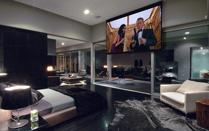 The Hollywood Dream House bedroom tv screen