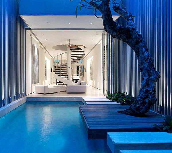 Light Open Plan Living Space blue pool view