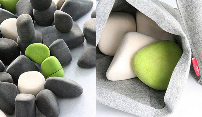 Felt Rocks green stones