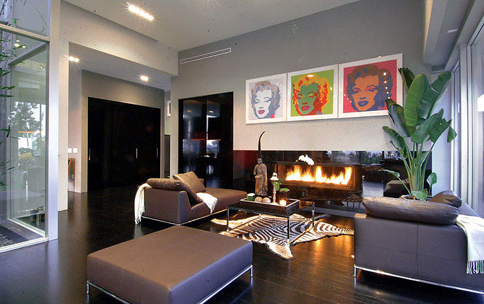 The Hollywood Dream House living room fire place