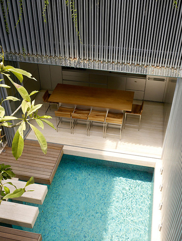 Light Open Plan Living Space pool view