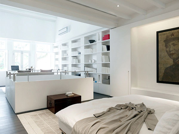 Light Open Plan Living Space white bedroom decor