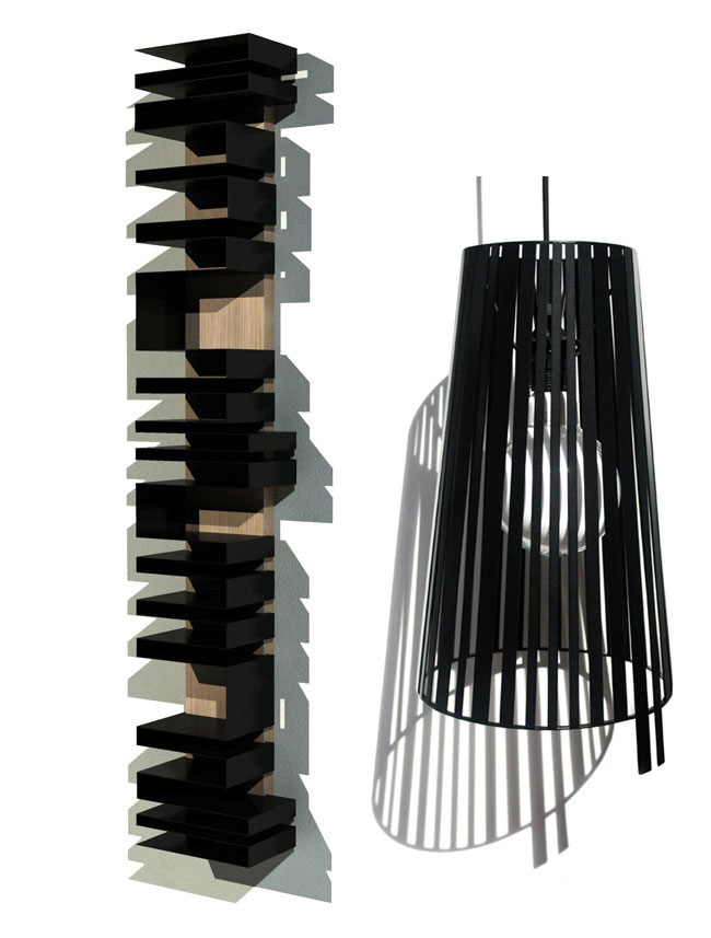 Design Inspired by Bar Codes bar deco bookshelf