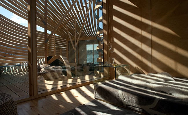 Wooden Design Hotel lounging area