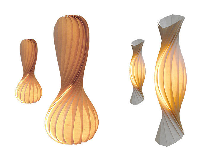 Tom Rossau with New Veneer Lamps wooden light