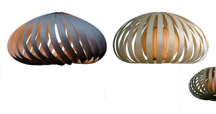 Tom Rossau with New Veneer Lamps wooden shades