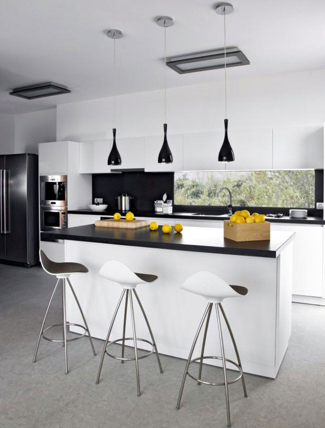 The Square House blak white kitchen