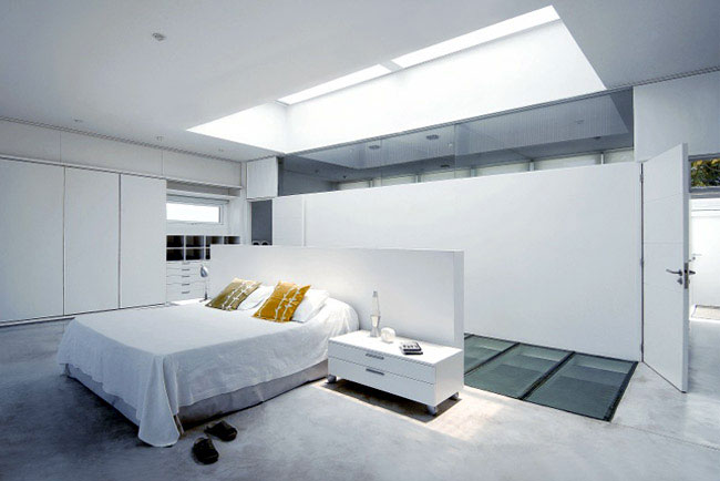 House with a Pool Inside white bedroom interior