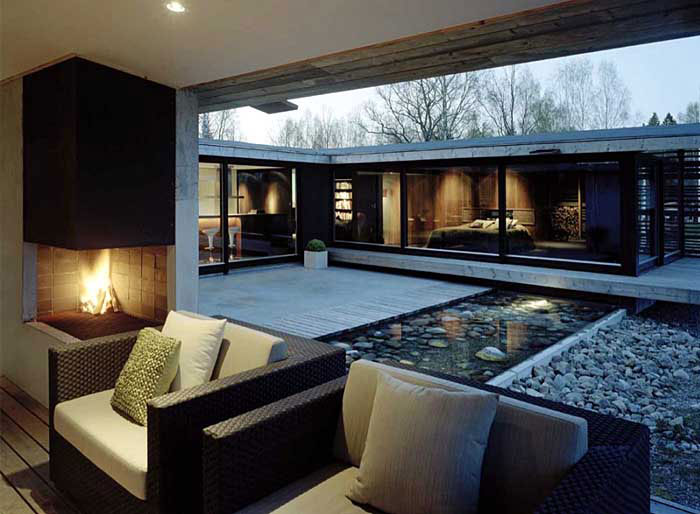 Modern Private Residence livingroom fireplace