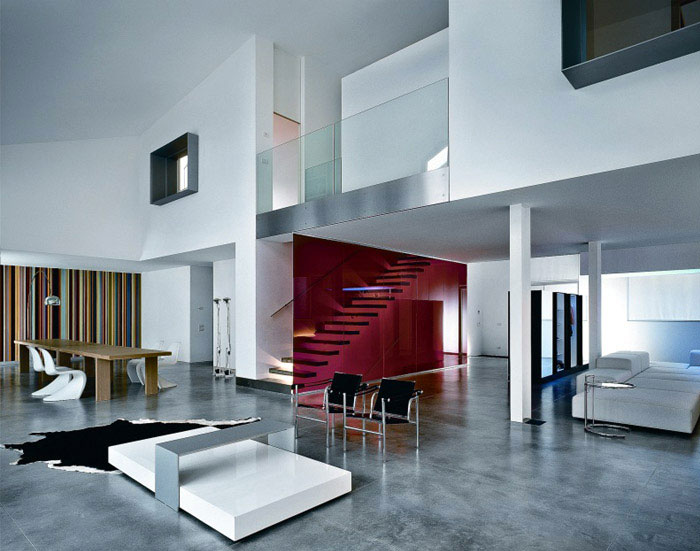Modern Houses in Busto Arsizio, Italy multi colored striped wall dining room