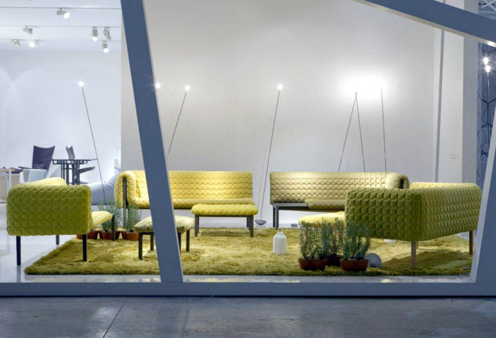 Ligne Roset at the Maison &amp; Objet wooden frame sofa