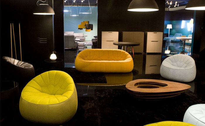 Ligne Roset at the Maison &amp; Objet yellow sofa