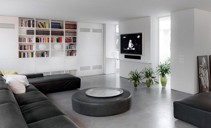 The interior concept  big space livingroom white