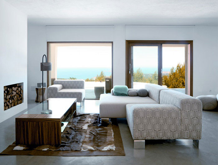 Modern Deserted Beach House interior blue