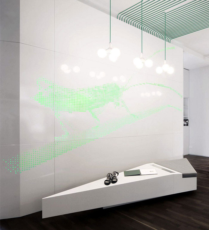Interior Decorating by Kinzo green light installation