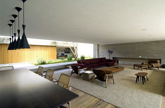 Brazilian Modern Concrete House open living spaces