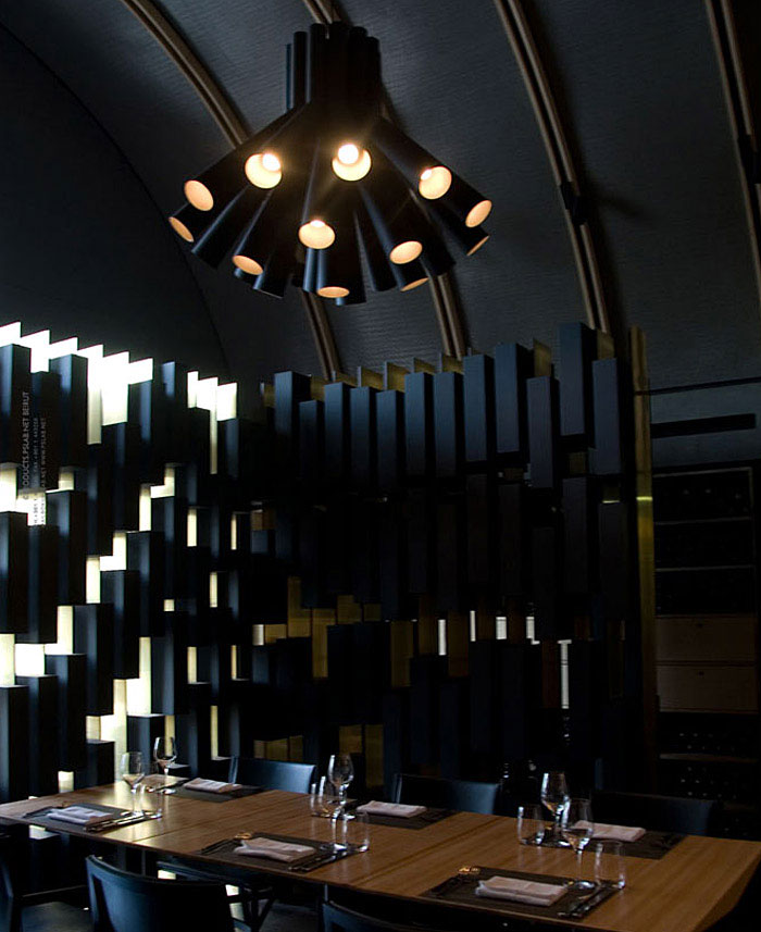 Burgundy wine bar restaurant by PSLAB wine bar lighting