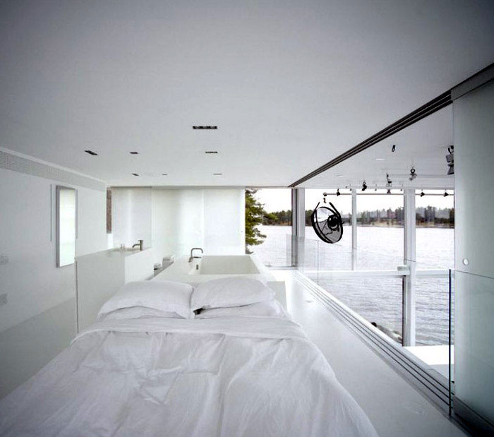 A photographer's studio by GH3  archetypal glass house bedroom