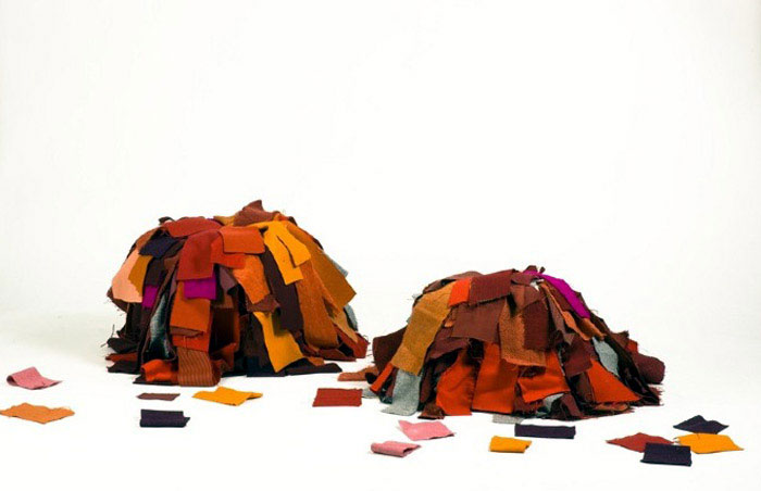 Pouffes Made of Recycled Textiles camilla halvorsen dusk