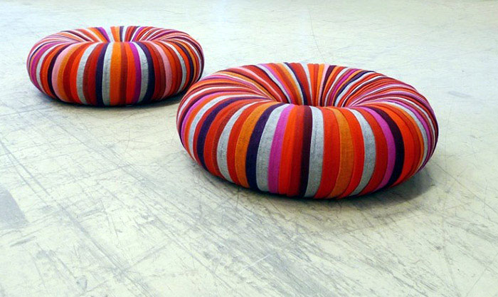 Pouffes Made of Recycled Textiles mini drops poof