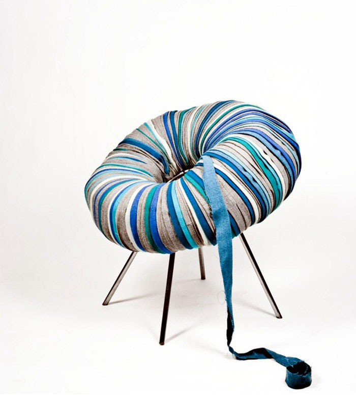 Pouffes Made of Recycled Textiles recycled textiles drops