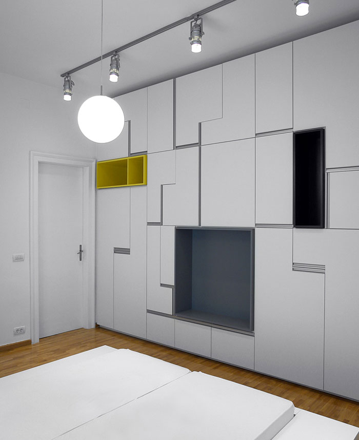 White Apartment by Parasite Studio contemporary bedroom
