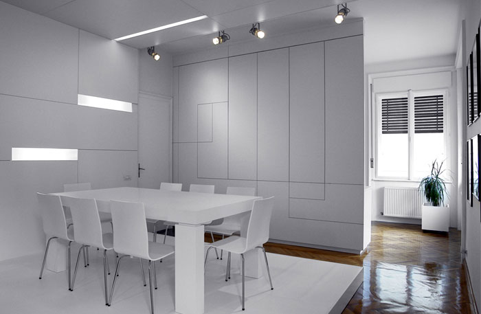 White Apartment by Parasite Studio dining area furniture design