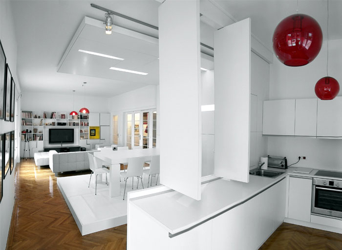 White Apartment by Parasite Studio white apartment furniture design