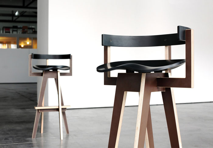 Mediodesign at in the room D3 Design Talents varnished birch plywood bar stool