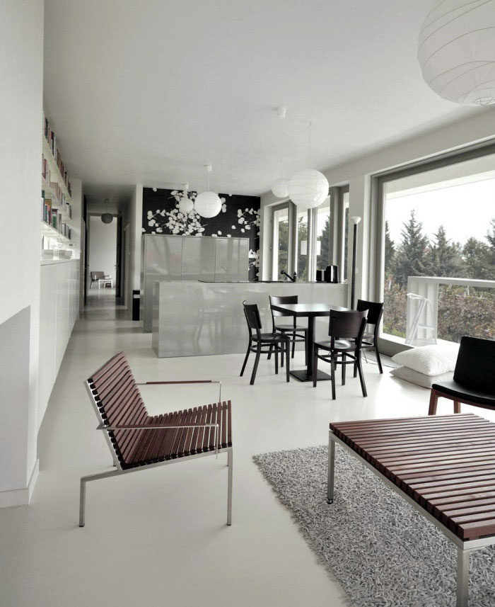 House inspired by the tradition white interior livingroom