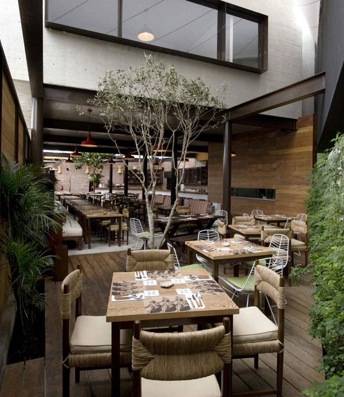 Restaurant With Large Open Garden interior decorating wood covered pastry room