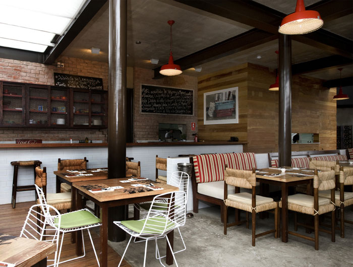 Restaurant with large open garden interiorzine