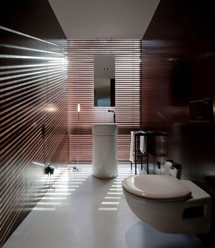 House With a Symmetrical Plane stylish house bathroom a