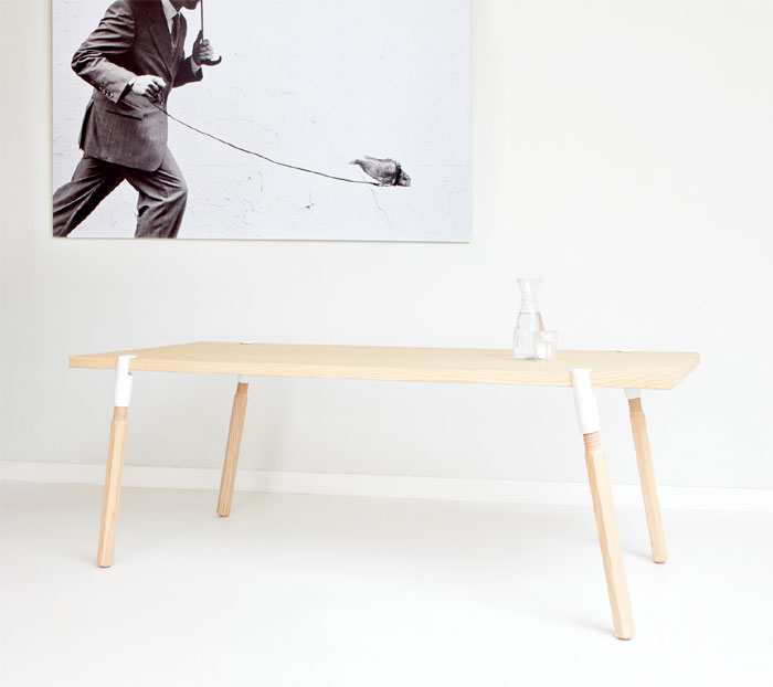 Dutch furniture brand De Vorm at Milan furniture design clamp a leg