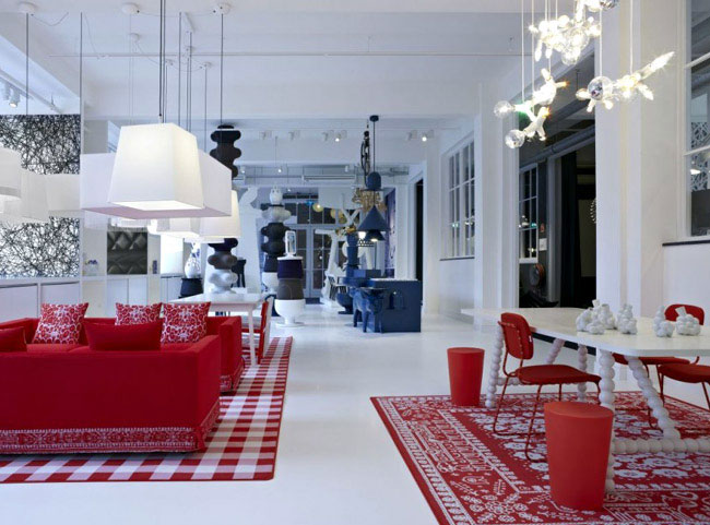 Glorious Space of Moooi Gallery  interior design trends red white blue