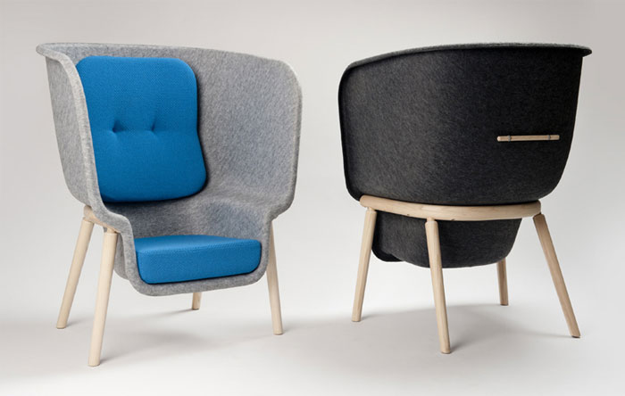 Large Privacy Chair moulded felt form chair