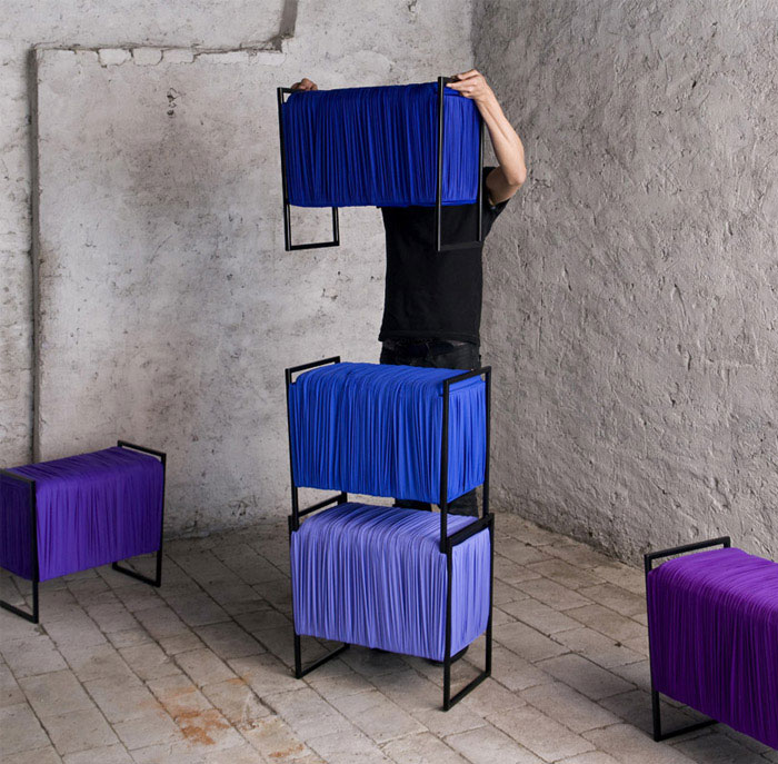 Flexible Fabric Storage   seating modules