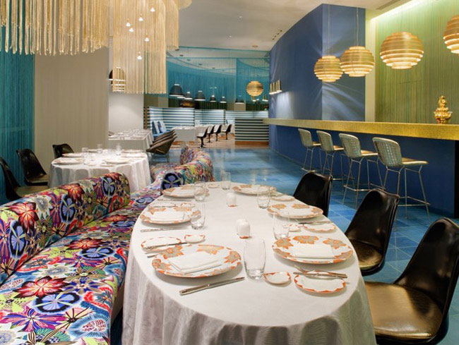 Turquoise and Gold Missoni Hotel interior design trend missoni