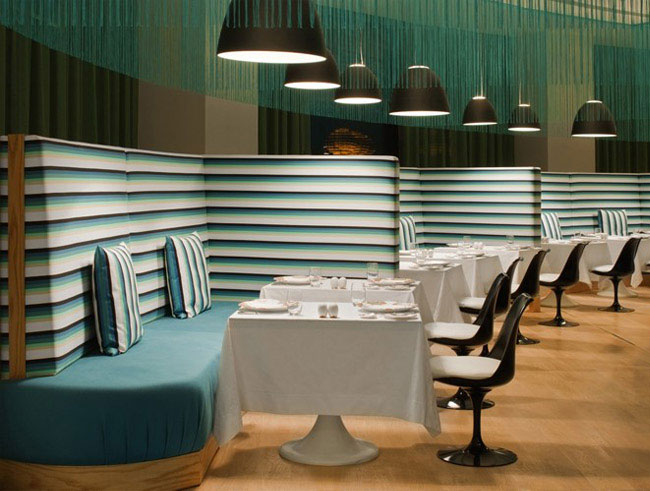 Turquoise and Gold Missoni Hotel interior design trend missoni resturant