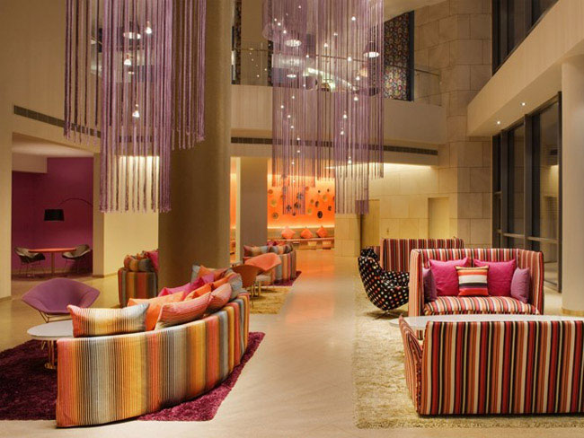 Turquoise and Gold Missoni Hotel missoni hotel interior design1